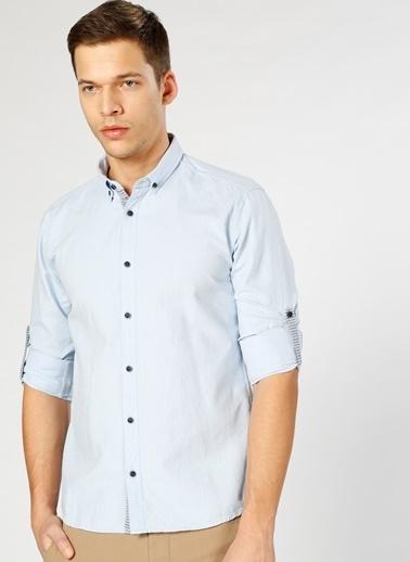 T-Box Uzun Kollu Gömlek Mavi